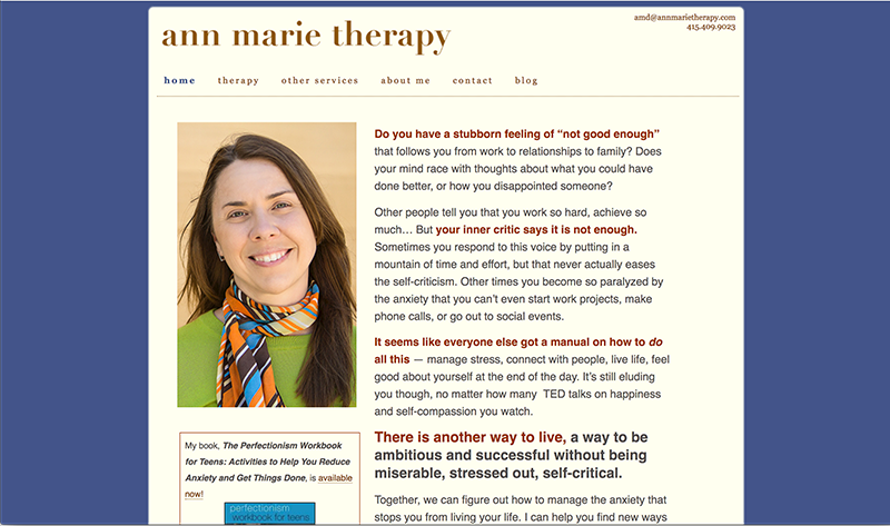 Ann Marie Therapy home page