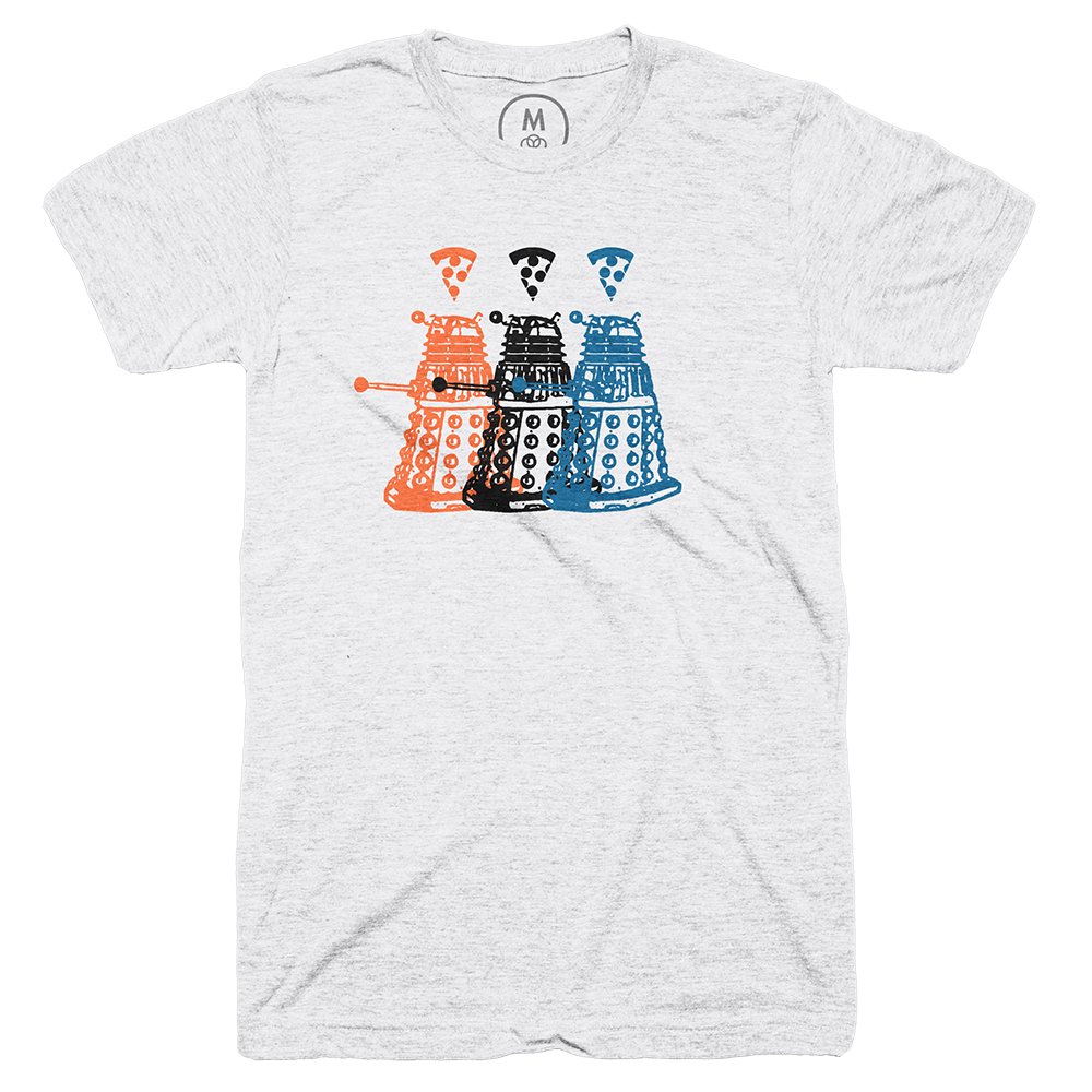 T-shirt with three colored Daleks beneath three colored pizza slices